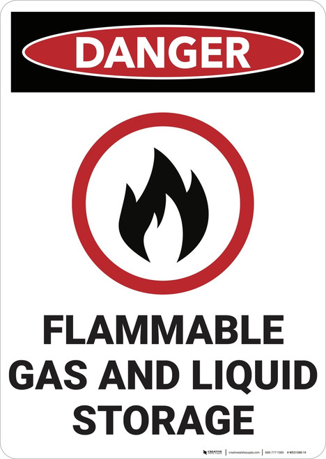 Danger: Flammable Gas and Liquid Storage - Wall Sign
