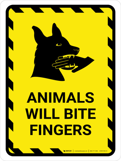Animals Will Bite Fingers With Icon Hazard Portrait - Wall Sign