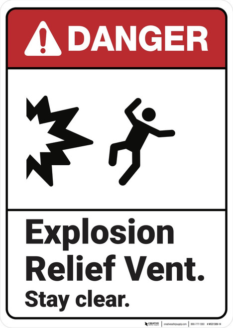 Danger: Explosion Relied Vent ANSI - Wall Sign