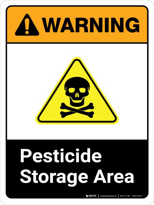 Warning: Pesticide Storage Area ANSI Portrait - Wall Sign