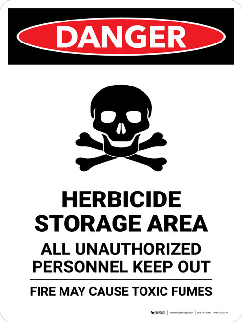 Danger: Herbicide Storage Area All Portrait - Wall Sign