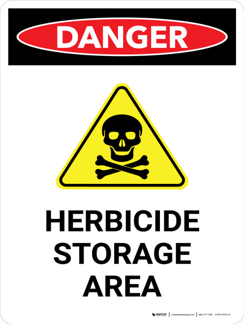 Danger: Herbicide Storage Area Portrait - Wall Sign