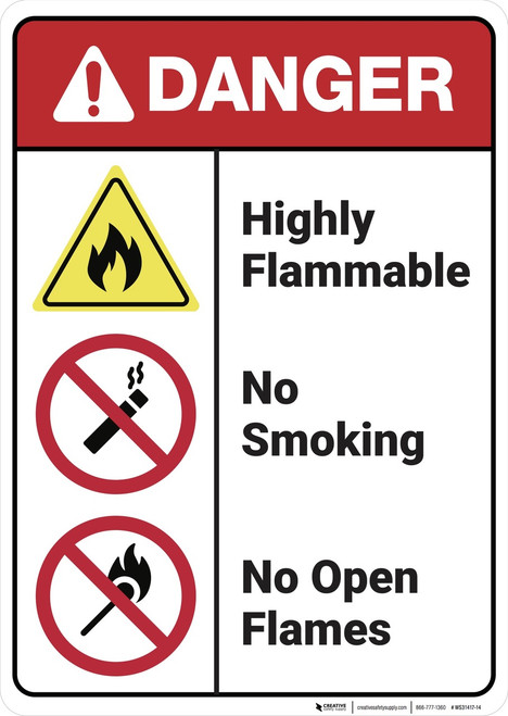 Danger: Highly Flammable No Smoking Open Flames ANSI - Wall Sign