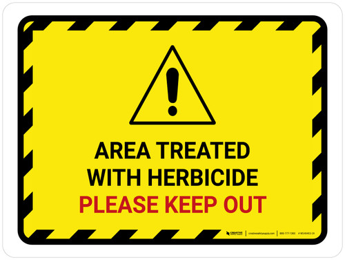 Area Treated With Herbicide with Hazard Icon Landscape - Wall Sign