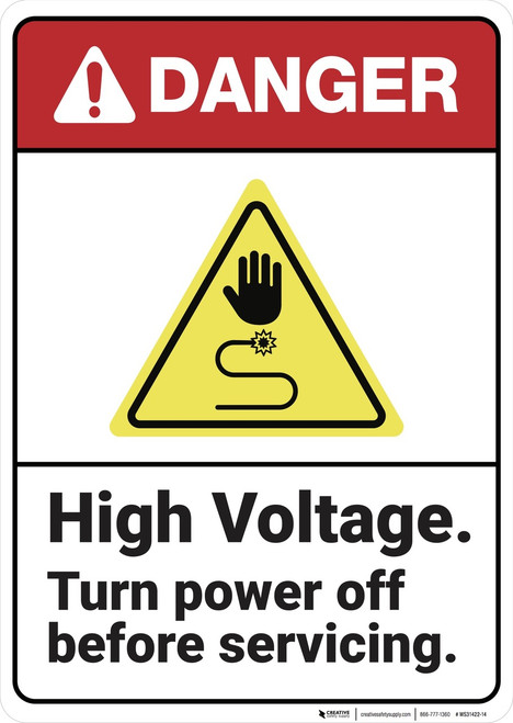Danger: High Voltage Turn Power Off ANSI - Wall Sign