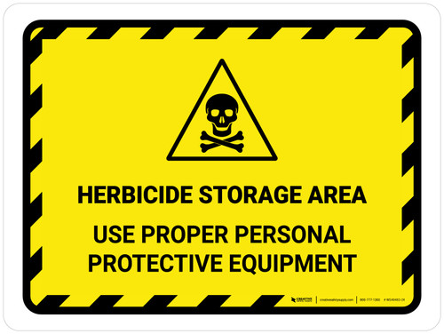 Herbicide Storage Area - Use Proper Persona Hazard Lines with Icon Landscape - Wall Sign