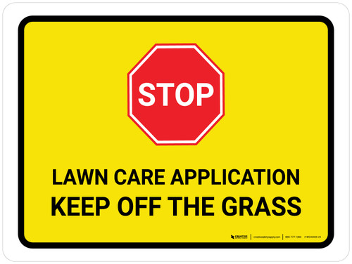 Stop: Lawn Care Application - Keep Off The Grass Landscape - Wall Sign