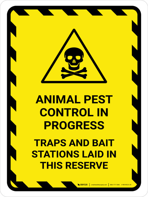 Animal Pest Control In Progress Hazard Lines with Icon Portrait - Wall Sign