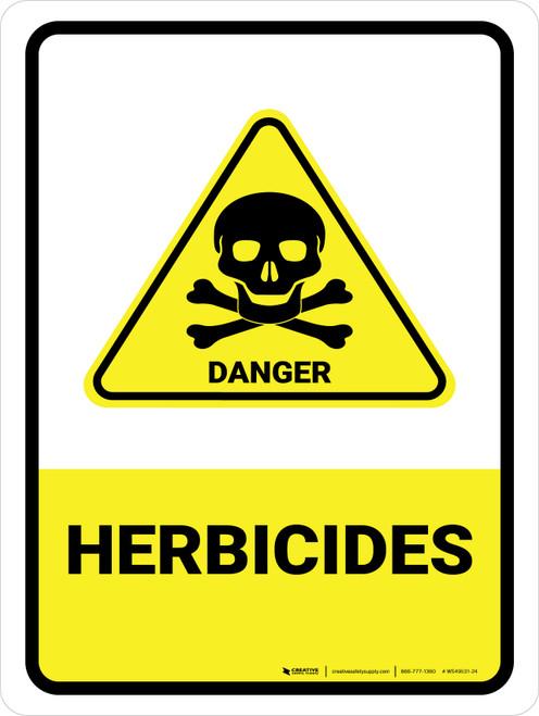 Herbicides with Danger Hazard Icon Portrait - Wall Sign