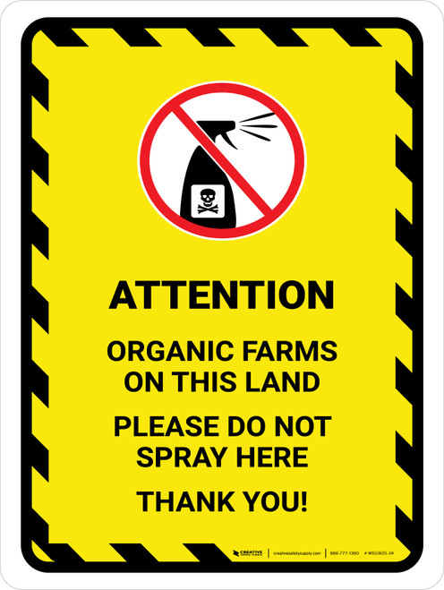 Attention: Organic Farms On This Land Hazard Lines with Icon Portrait - Wall Sign