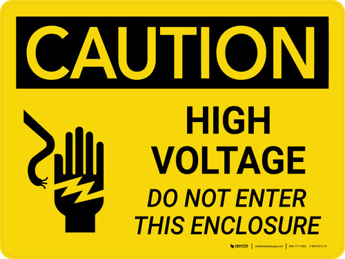 Caution: High Voltage Do Not Enter This Enclosure Landscape With Icon - Wall Sign