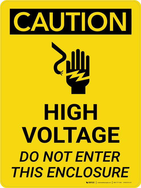 Caution: High Voltage Do Not Enter This Enclosure Portrait With Icon - Wall Sign