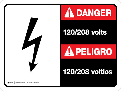 Danger: 120-208 Volts Bilingual Spanish Landscape with Icon - Wall Sign