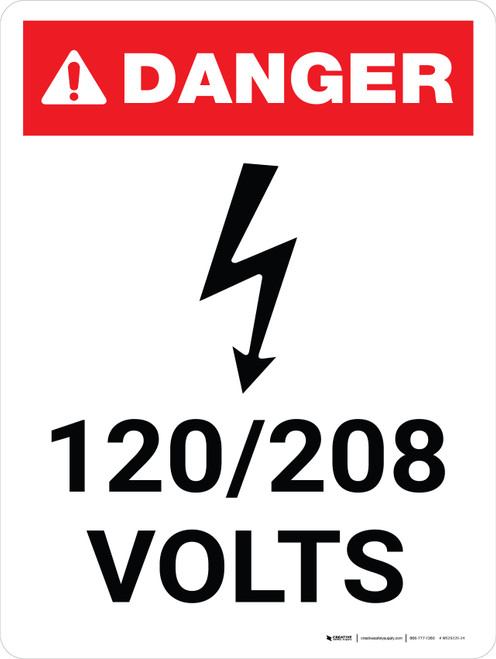 Danger: 120-208 Volts Portrait with Icon - Wall Sign