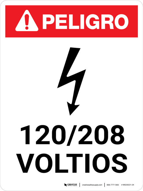 Danger: 120-208 Volts Spanish Portrait with Icon - Wall Sign