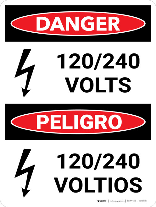 Danger: 120-240 Volts Bilingual Spanish Portrait with Icon - Wall Sign