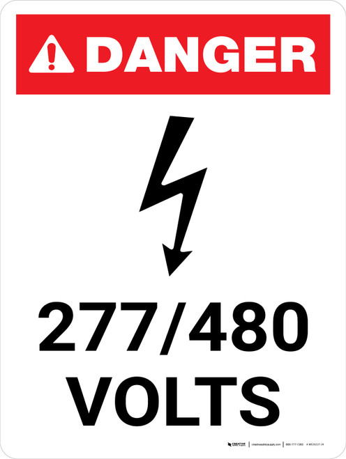 Danger: 277-480 Volts Portrait with Icon - Wall Sign