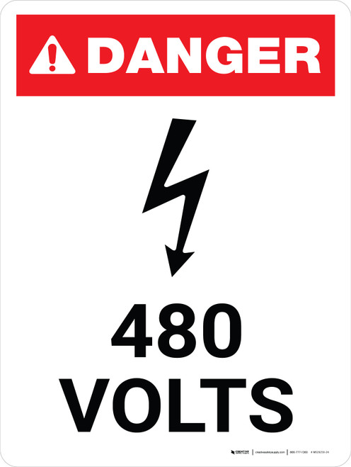 Danger: 480 Volts Portrait with Icon - Wall Sign