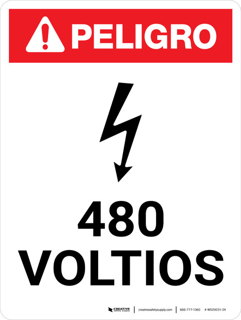 Danger: 480 Volts Spanish Portrait with Icon - Wall Sign