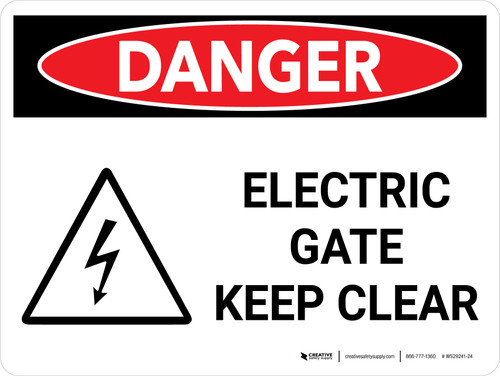 Danger: Electric Gate Keep Clear Landscape with Icon - Wall Sign