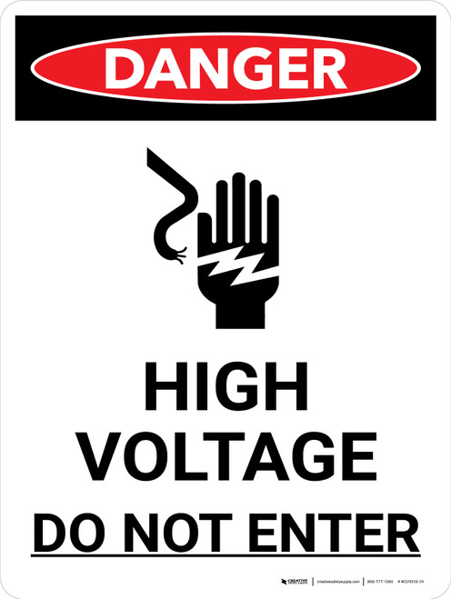 Danger: High Voltage Do Not Enter Portrait with Icon - Wall Sign