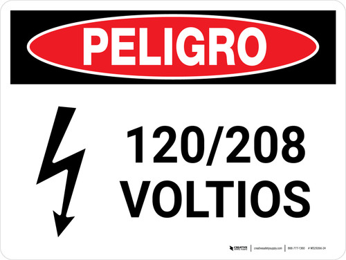 Danger: 120-208 Volts Spanish Landscape with Icon - Wall Sign