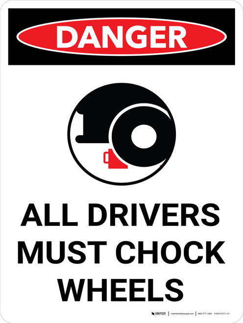 Danger: All Drivers Chock Wheels Portrait with Icon - Wall Sign