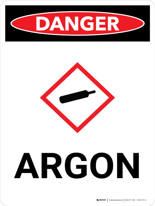 Danger: Argon Portrait with Icon - Wall Sign