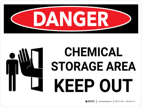 Danger: Chemical Storage Area Keep Out Landscape with Icon - Wall Sign
