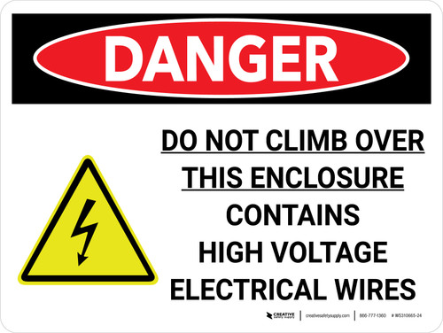 Danger: Do Not Climb Contains High Voltage Landscape with Icon - Wall Sign
