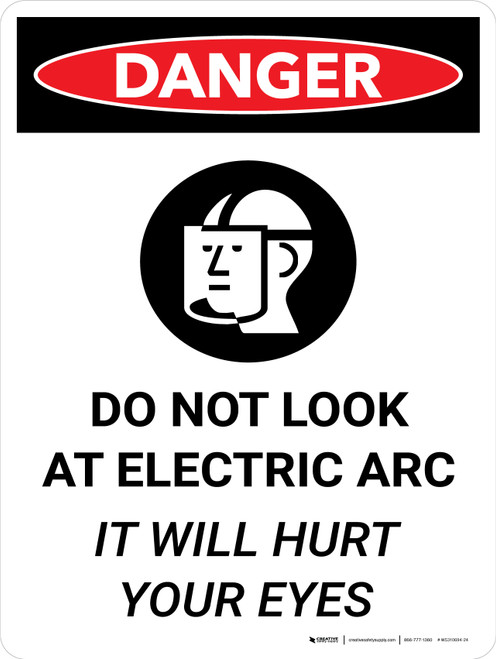 Danger: Do Not Look Electric Arc It Will Hurt Your Eyes Portrait with Icon - Wall Sign