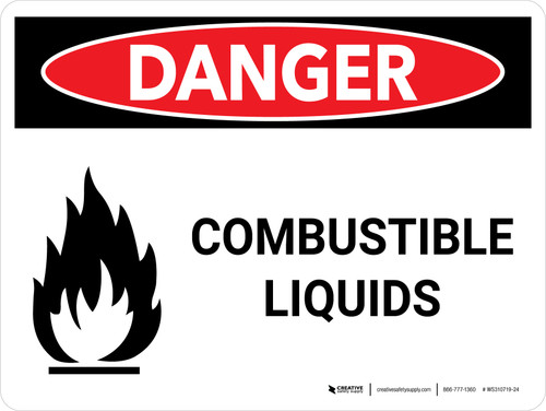 Danger: Flammable Explosive Liquids Landscape with Icon - Wall Sign