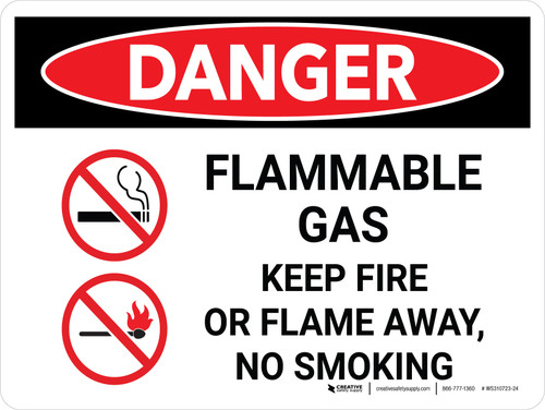 Danger: Flammable Gas Keep Fire Or Flame Away No Smoking Landscape with Icon - Wall Sign