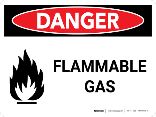 Danger: Flammable Gas Landscape with Icon - Wall Sign
