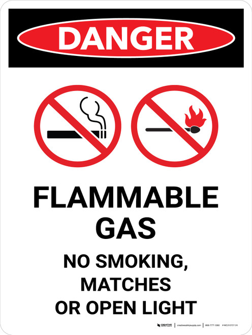 Danger: Flammable Gas No Smoking Matches Open Lights Portrait with Icon - Wall Sign