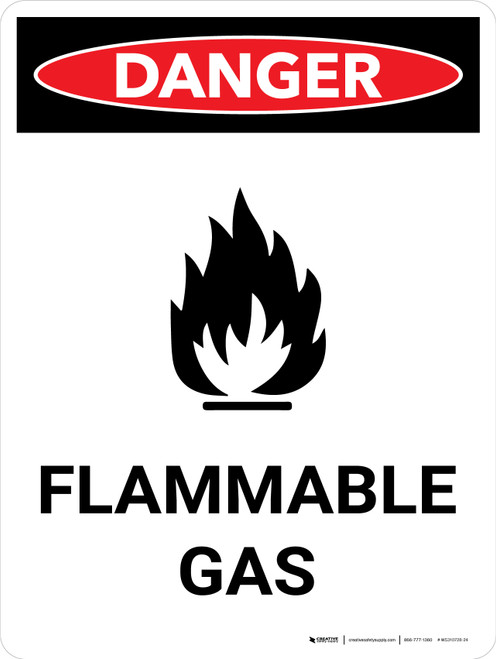 Danger: Flammable Gas Portrait with Icon - Wall Sign