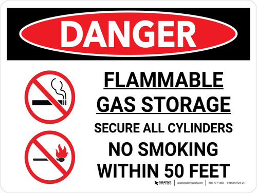 Danger: Flammable Gas Storage Secure Cylinders Landscape with Icon - Wall Sign