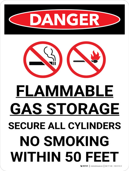 Danger: Flammable Gas Storage Secure Cylinders Portrait with Icon - Wall Sign