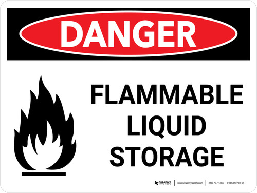 Danger: Flammable Liquid Storage Landscape with Icon - Wall Sign