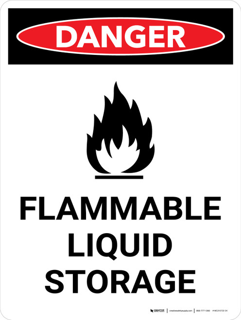 Danger: Flammable Liquid Storage Portrait with Icon - Wall Sign