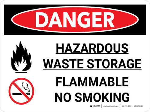 Danger: Hazardous Waste Storage Flammable No Smoking Landscape with Icon - Wall Sign