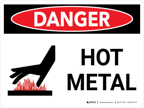 Danger: Hot Metal Landscape with Icon - Wall Sign