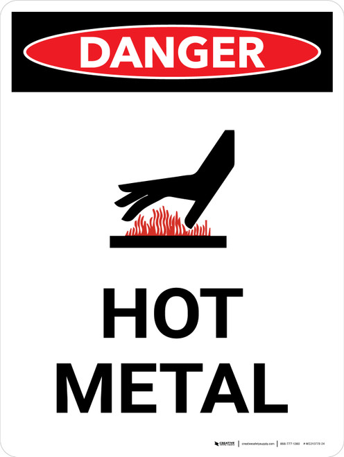 Danger: Hot Metal Portrait with Icon - Wall Sign