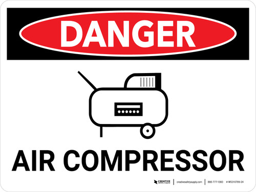 Danger: Air Compressor Landscape with Icon - Wall Sign