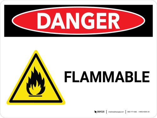 Danger: Flammable Landscape with Icon - Wall Sign