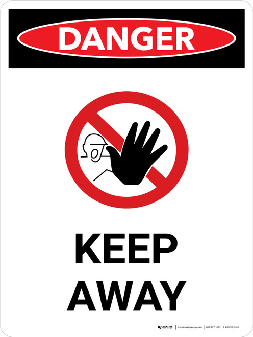 Danger: Keep Away Portrait with Icon - Wall Sign