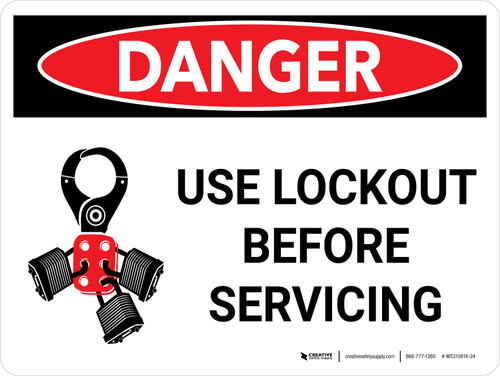 Danger: Use Lockout Before Servicing Landscape with Icon - Wall Sign