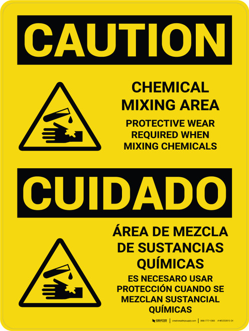Caution: Chemical Mixing Area PPE Required With Icons - Wall Sign