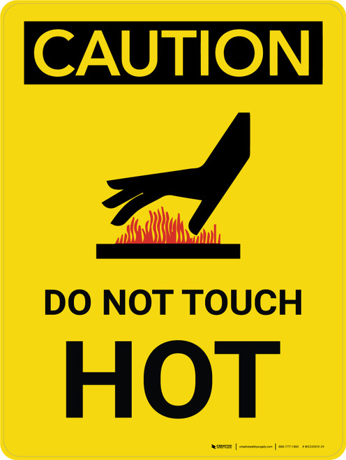 Caution: Do Not Touch - Hot Portrait With Icon - Wall Sign