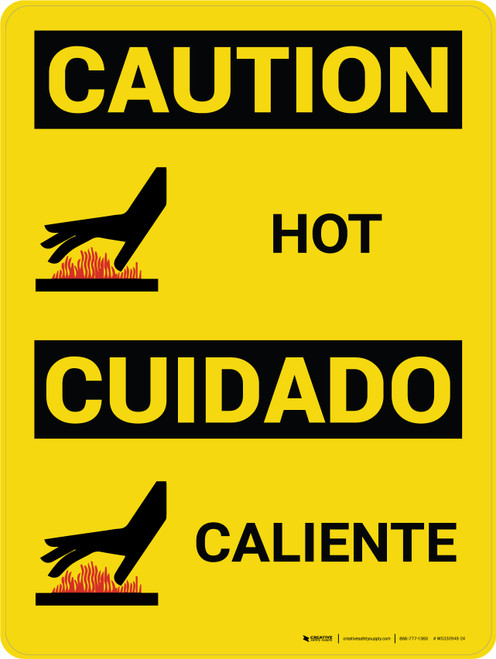 Caution: Hot Vertical Bilingual Spanish With Icons - Wall Sign